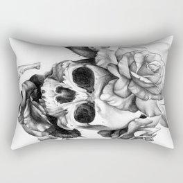 Black and white Skull and Roses Rectangular Pillow