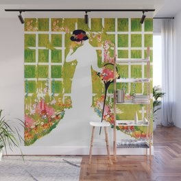 Lady In White in Garden 1913 Magazine Cover Wall Mural