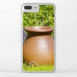 Lavender Garden ornamental pot Clear iPhone Case