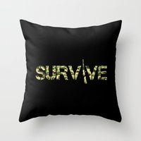 army Throw Pillows featuring Survive (Army) by eARTh