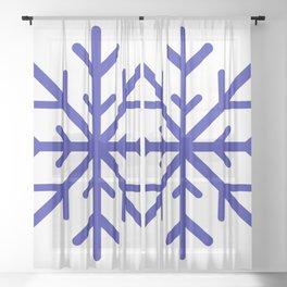 Snowflake (Navy Blue & White) Sheer Curtain