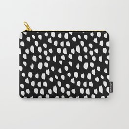 Handdrawn drops and dots on black-Mix & Match with Simplicty of life Carry-All Pouch
