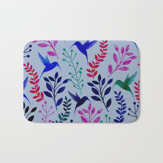 Watercolor Floral & Birds Bath Mat