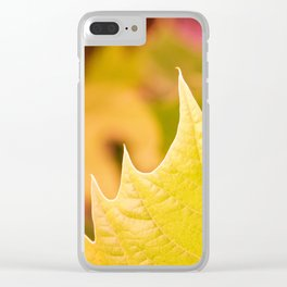 Golden Olive Sycamore Leaf Clear iPhone Case