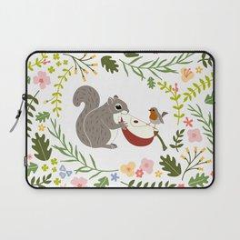 Friendship in Wildlife_Squirrel and Robin_Bg White Laptop Sleeve