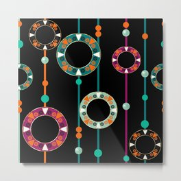 Abstract folk african pattern. Multi-colored circles rings. Metal Print