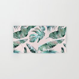 Tropical Palm Leaves Turquoise Green Coral Pink Hand & Bath Towel