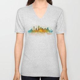 Dallas Texas City Skyline watercolor v03 Unisex V-Neck