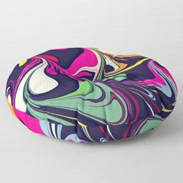 Marble No5, Floral Abstraction Floor Pillow