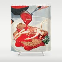 eugenia loli Shower Curtains featuring 350 Fahrenheit by Eugenia Loli