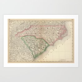 Vintage Map of The Carolinas (1879) Art Print