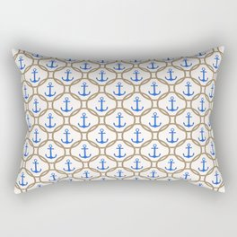 Seamless nautical pattern with blue anchors and rope on white background Rectangular Pillow