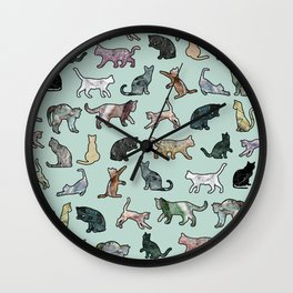 Cats shaped Marble - Mint Green Wall Clock