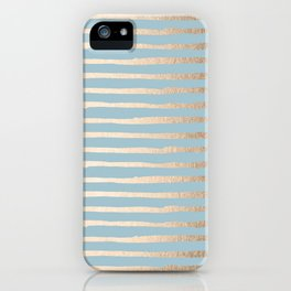 Abstract Stripes Gold Tropical Ocean Sea Blue iPhone Case
