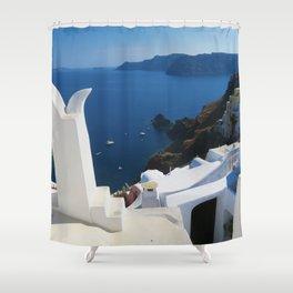 Oia Santorini c Shower Curtain