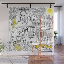 Yellow Color Accent Folk Art Wall Mural