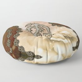 Awesome asia dragon on vintage background Floor Pillow