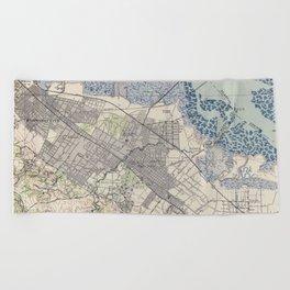 Old Map of Palo Alto & Silicon Valley CA (1943) Beach Towel