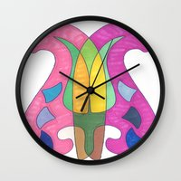 flower of life Wall Clocks featuring Life by SaraLaMotheArt