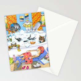 Cat 601 Funny cats in bath Stationery Cards
