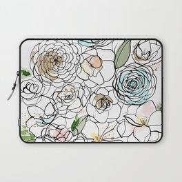 Inky Camellias Gold Laptop Sleeve