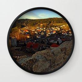 Village skyline below the castle at sundown   landscape photography Wall Clock