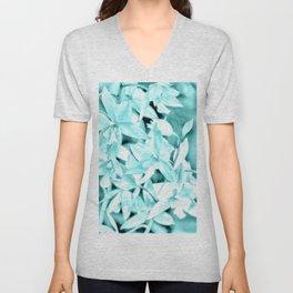 Cascading orchids - Teal Unisex V-Neck