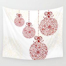Christmas Baubles Made Of Snowflakes Wall Tapestry