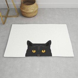 Peeking black cat face cute pet portrait funny cat lovers gifts Rug