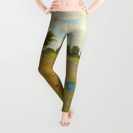 Claude Monet Impressionist Landscape Oil Painting Poppy Field Leggings