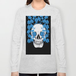 Skull with Blue Flowers Long Sleeve T-shirt