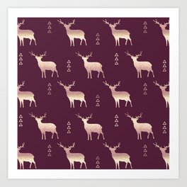 Christmas Deer Plum Blush and Gold glittery ombre Art Print