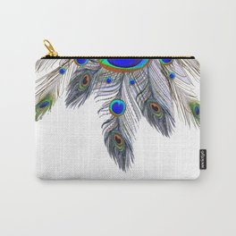 BLUE PEACOCK FEATHER & JEWELS Carry-All Pouch