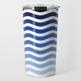 Ocean waves navy blue striped pattern, minimalist summer waves Travel Mug