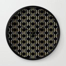 Black White and Gold Octagonal interlocking shapes Wall Clock