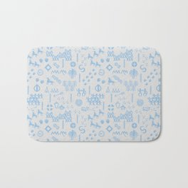 Peoples Story - Blue on Grey Bath Mat