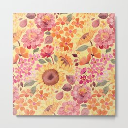 Happy Boho Sixties Floral Metal Print