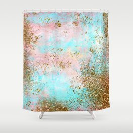 Pink and Gold Mermaid Sea Foam Glitter Shower Curtain