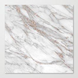 Pink Rose Gold Blush Metallic Glitter Foil on Gray Marble Canvas Print