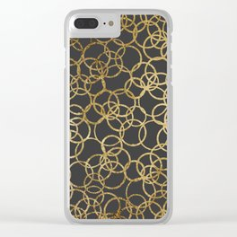 Modern Gold Circles on Charcoal Black Clear iPhone Case