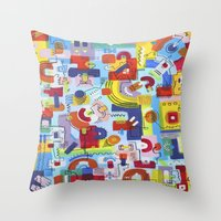 game Throw Pillows featuring Game by Tanja K