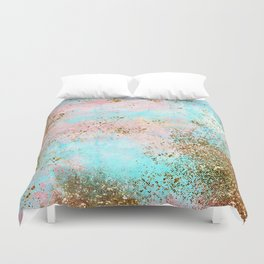 Pink and Gold Mermaid Sea Foam Glitter Duvet Cover