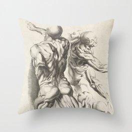 Anatomical study of three figures, 17th Century Throw Pillow