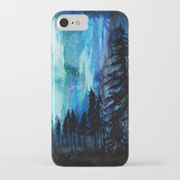 northern lights iPhone & iPod Cases featuring Northern Lights by VivianLohArts