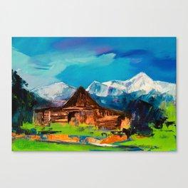 Sunny Day Over Teton Barn Canvas Print