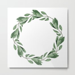 Cherry leaves wreath Metal Print
