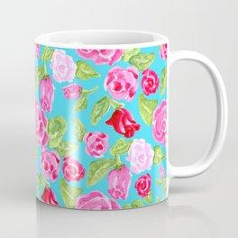 Watercolor Rose Garden Turquoise Coffee Mug