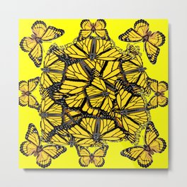 YELLOW MONARCH BUTTERFLY DOG PILE OF WINGS Metal Print