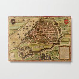 Vintage Map of Antwerp Belgium (1572) Metal Print