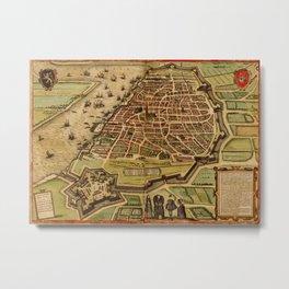 Vintage Map of Antwerp Belgium (1572) Metal Print